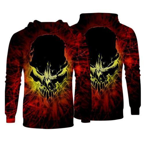 Men Hoodies Top Pullover Sweatshirt Hoodies  Skull Print Pattern Clothing-1