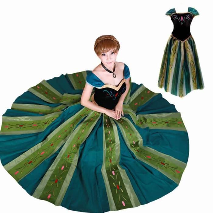 Frozen Princess Anna Adult Women Halloween Party Dress Cosplay Costume