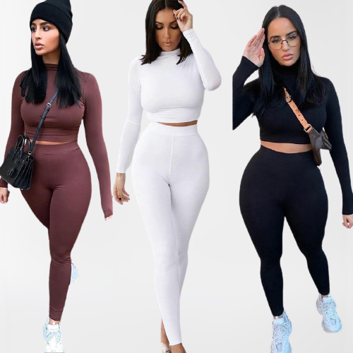 Sportswear  Crop Tops And Leggings Matching Outfits Pants