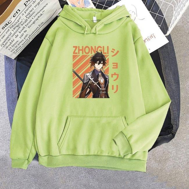 Anime Hoodie Genshin Impact Zhong Li Print Harajuku Oversize Sweatshirts Hoody Unisex Casual Cool Game Tops Pullover