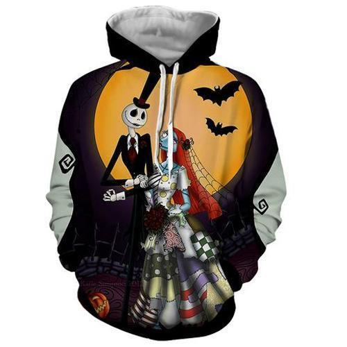 Nightmare Before Christmas Jack & Sally 3D Sweatshirt Hoodie Pullover
