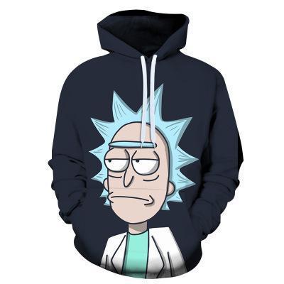 Rick Dark Blue Anime Unisex 3D Printed Hoodie Pullover Sweatshirt