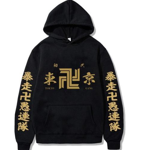 Black Anime Hooded Tokyo Revengers Print Loose Pocket Hoodie Fleece Pullover Sweatshirt
