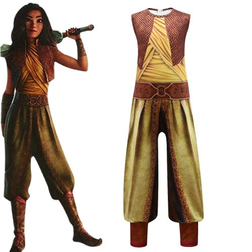 Cosicon Raya And The Last Dragon Cosplay Kids Jumpsuit Halloween Costume