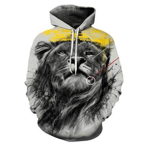 Lion'S Head 3D Sweatshirt Hoodie Pullover