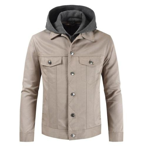 Men  Single-Breasted Detachable Casual Hooded Jacket