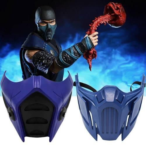 Game Mortal Kombat 11 Subzero Scorpion Blue Resin Mask Cosplay Props