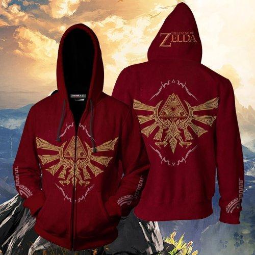 The Legend Of Zelda Game Royal Hylian Crest Wingcrest Logo Dark Red Cosplay Unisex 3D Printed Hoodie Sweatshirt Jacket With Zipper