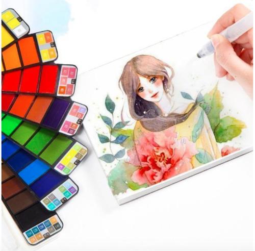18/25/33/42Colors Foldable Fan-Shaped Portable Solid Watercolor Paint Set