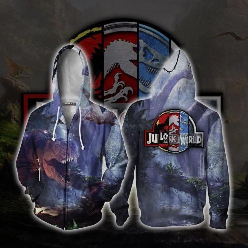 Jurassic World Dinosaur Movie Unisex 3D Printed Hoodie Sweatshirt Jacket With Zipper