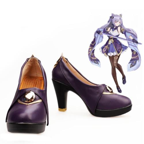 Game Genshin Impact Keqing Boots Halloween Costumes Accessory Cosplay Shoes