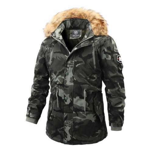 Men'S  Camouflage Hooded Fur Collar Casual Coat
