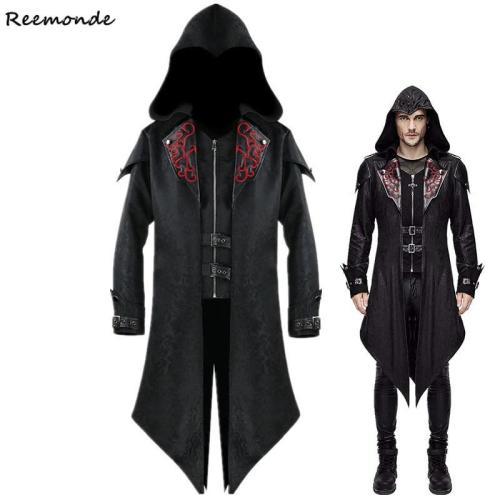 Medieval Costume Men Victorian  Black Retro Patchwork Jacket Steampunk Trench Coat Tailcoat Jacket Gothic Overcoat Uniform Cos