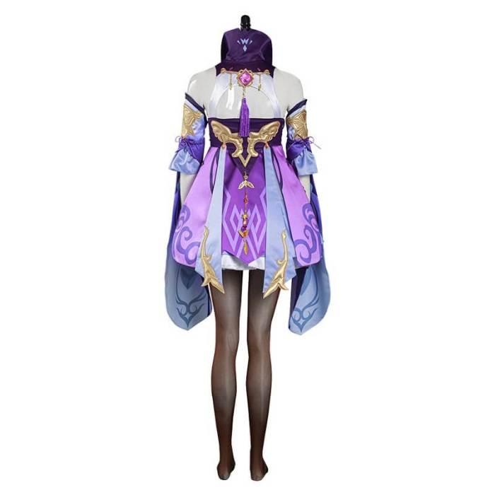 Genshin Impact Keqing Cosplay Costume Ke Qing Purple Dress Outfits