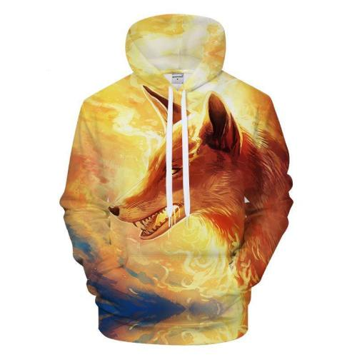 Fox In The Flame 3D Sweatshirt, Hoodie, Pullover