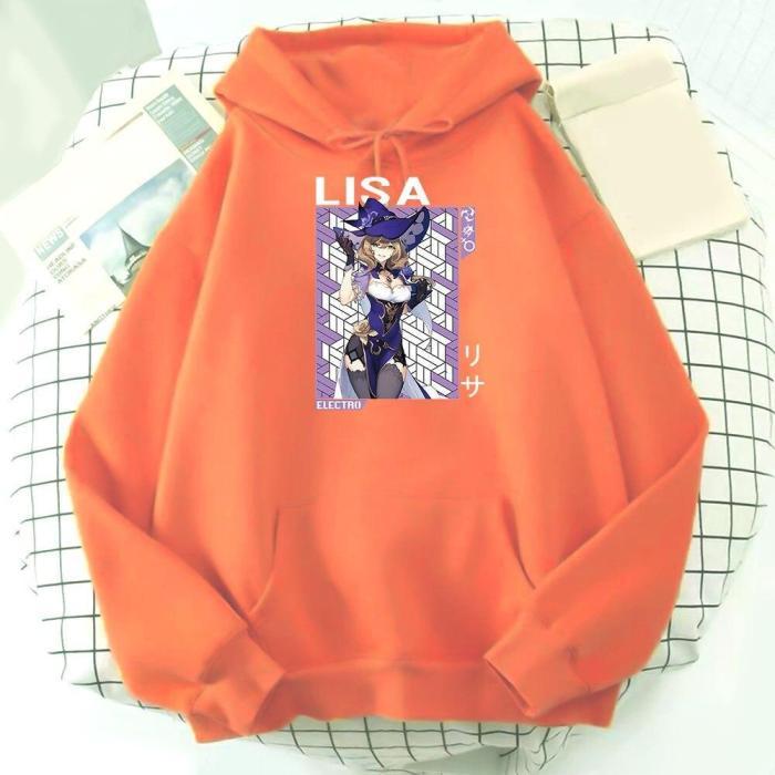 Genshin Impact Anime Hoodie Sweatshirts Lisa Graphic  Game Unisex Pullovers Fashion Top