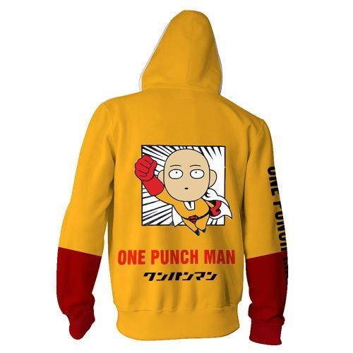 One Punch Man Anime Saitama Yellow Cosplay Hoodie 3D Printed Zipper Jacket Sweatshirt