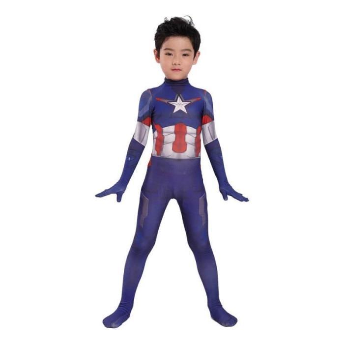 Kids Captain America Zentai Jumpsuit Suit Halloween Cosplay Costume