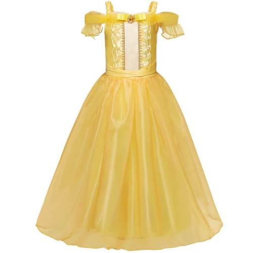 Kids Girls Princess Belle Yellow Dress Cosplay Costume Party Clothing