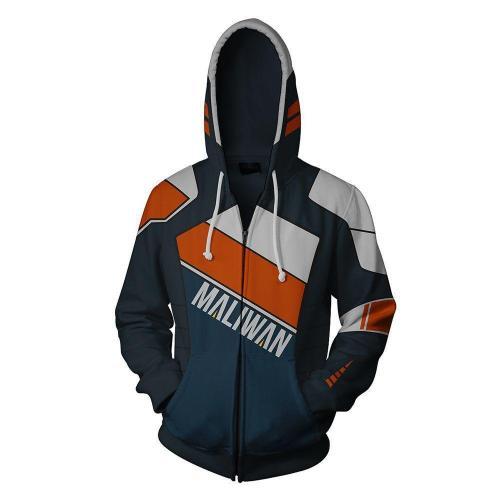 Borderlands Dark Blue Maliwan Game Unisex 3D Printed Hoodie Sweatshirt Jacket With Zipper