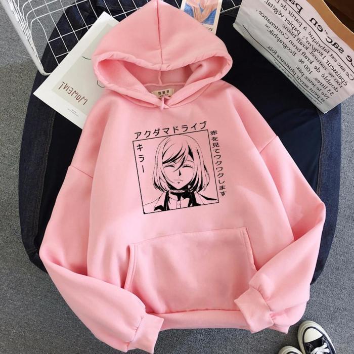 Anime Akudama Drive Murderer Print Harajuku Oversize Hoodie Pink Tops Warm Couple Casual Sweatshirt