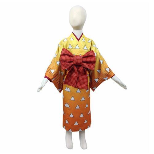 Demon Slayer Agatsuma Zenitsu Kids Kimono Outfits Halloween Carnival Costume Cosplay Costume