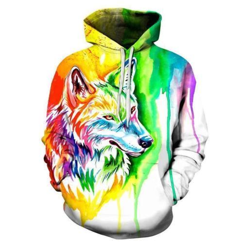 Wolf Paint Splash 3D Sweatshirt Hoodie Pullover