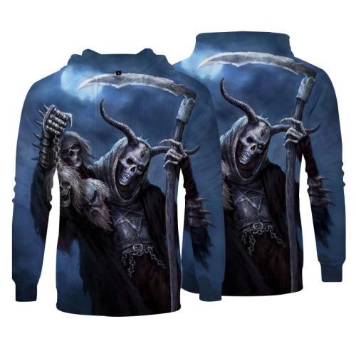 Men Hoodies Top Pullover Sweatshirt Hoodies Print 3D Skull Picture Clothing