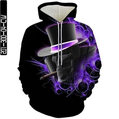 Purple Skull Man Head With Hat Movie Cosplay Unisex 3D Printed Hoodie Sweatshirt Pullover