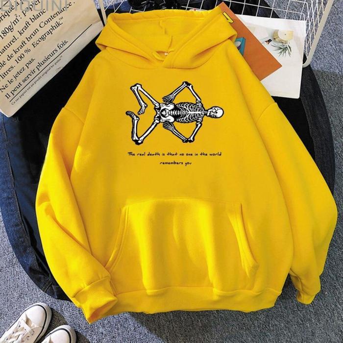 Halloween Oversize Sweatshirt Skull Funny Cartons Print Girls Loose Casual Vintage Hoodie