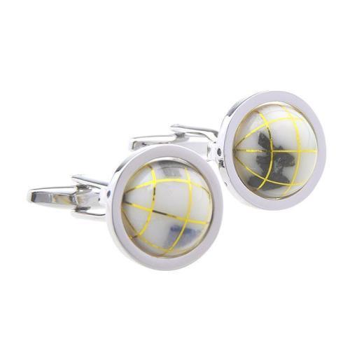 Men Gemstone Glass Single Letter Cufflinks