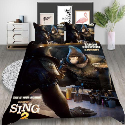 Animated Movie Sing 2 Cosplay Bedding Set Duvet Cover Pillowcases Halloween Home Decor