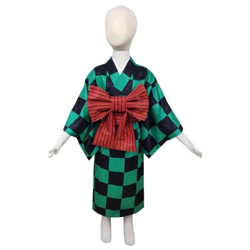 Demon Slayer Kamado Tanjirou Kids Kimono Outfits Halloween Carnival Costume Cosplay Costume
