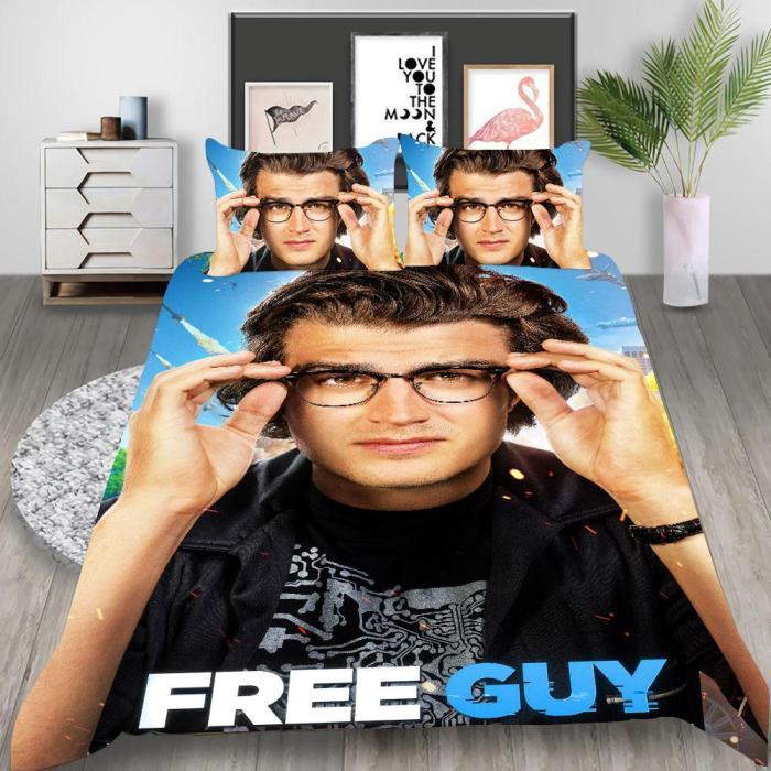 Free Guy Cosplay Bedding Set Duvet Cover Pillowcases Halloween Home Decor