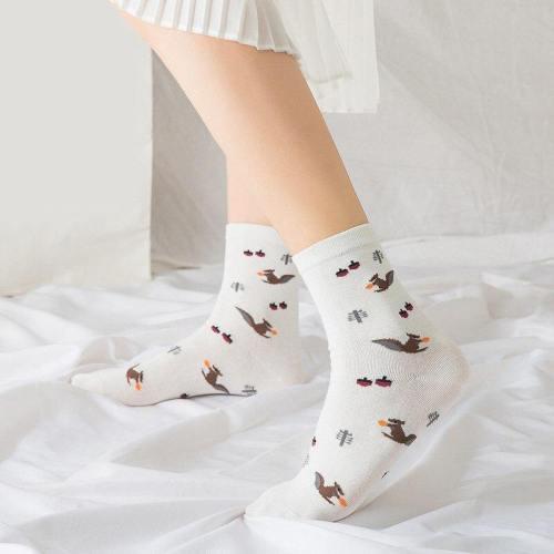 3 Pairs Autumn Print Squirrel Socks