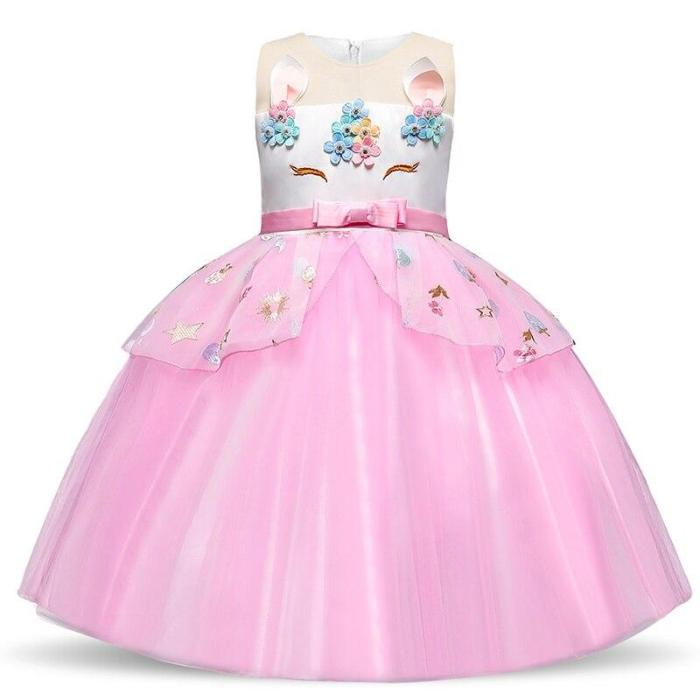 Unicorn Dress For Girls Kids Baby Princess Wedding Party Ball Gown With Petticoat