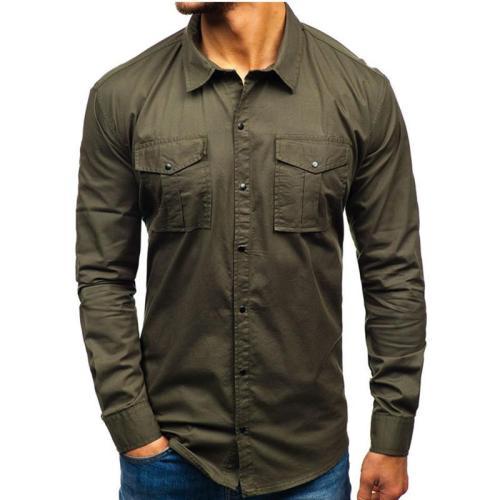 Men'S Work Shirt Multiple Pockets Solid Color Cotton Shirt