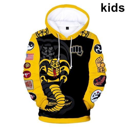 2 To 14 Years Kids Cobra Kai 3D Printed Sweatshirt The Karate Kid Cosplay Pullover Hoodie