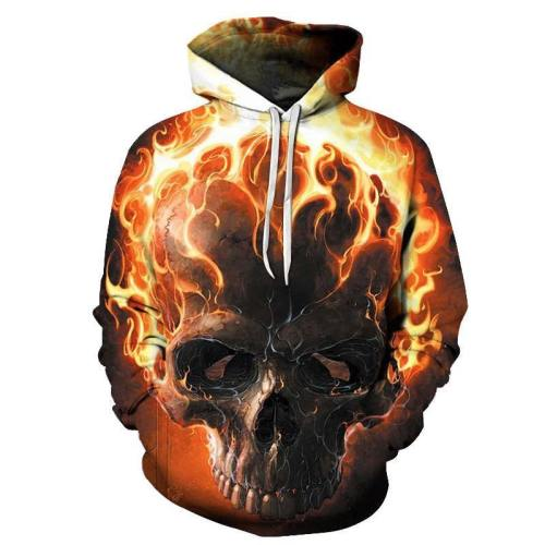 Fire Skull 3D Sweatshirt Hoodie Pullover