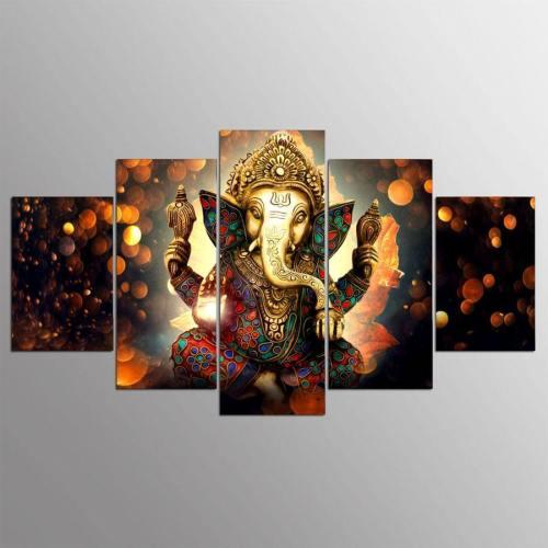 Golden Ganesh Hd Canvas