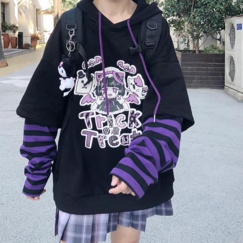 Japanese Casual Cartoon Long Sleeve Anime Hoodie Hip Hop Harajuku Loose Plus Size Vintage Hooded Sweatshirt