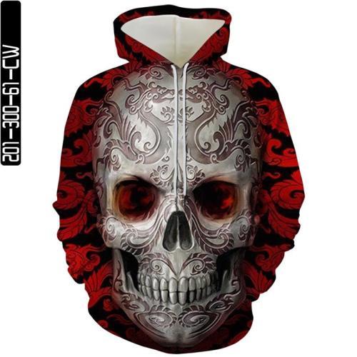 Big Dragon Pattern Skull Man Head Movie Red Cosplay Unisex 3D Printed Hoodie Sweatshirt Pullover