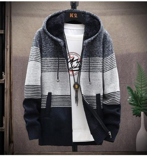 Hooded Cardigan Men Clothing Winter Knitted Sweater