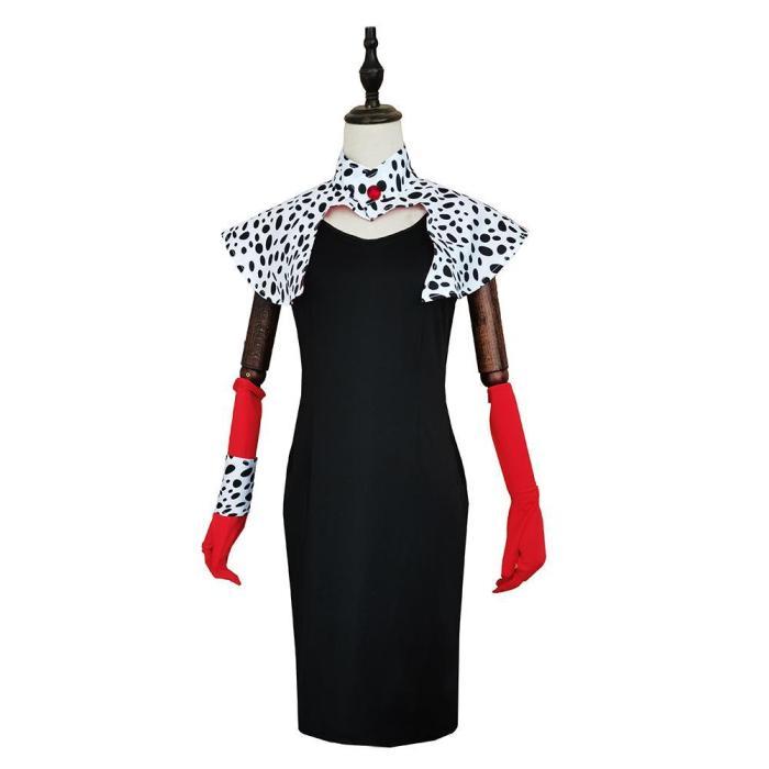 Cruella De Vil Print Dress Outfits Halloween Carnival Suit Cosplay Costume