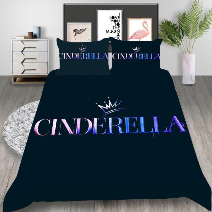 Cinderella Cosplay Bedding Set Duvet Cover Pillowcases Halloween Home Decor