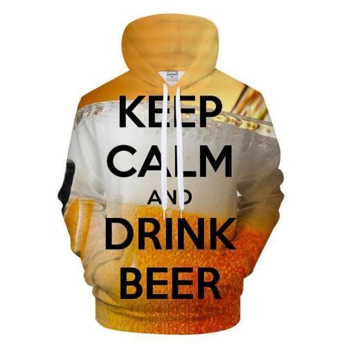 Keep Calm & Drink Beer 3D Sweatshirt Hoodie Pullover
