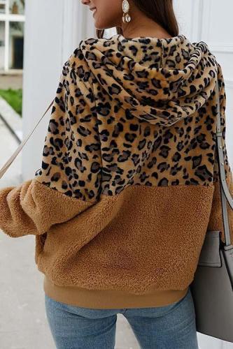Zoeychic Leopard Zip-Up Patchwork Hooded Coat(5 Colors)
