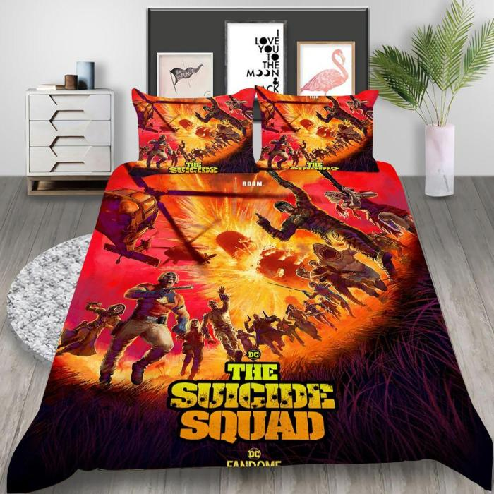 Suicide Squad 2 Harley Quinn Cosplay Bedding Set Duvet Cover Pillowcases Halloween Home Decor