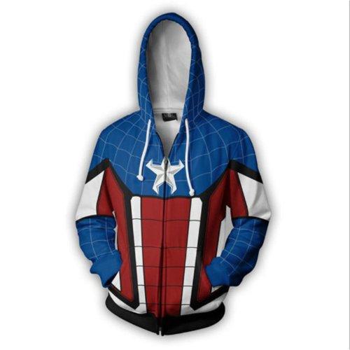Captain America Movie Style 7 Cosplay Unisex 3D Printed Hoodie Sweatshirt Jacket With Zipper