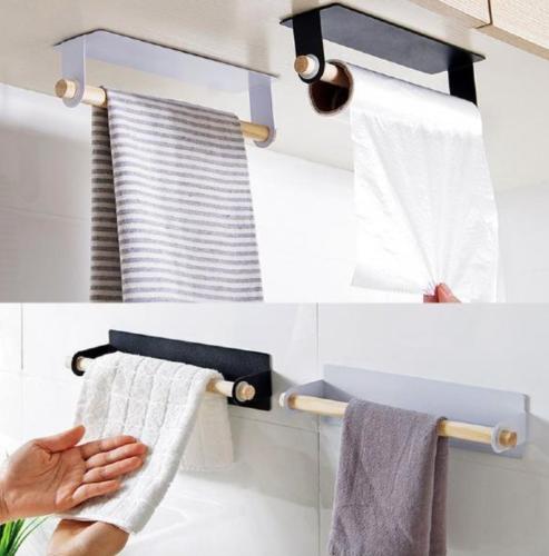 Bathroom Self-Adhesive Wall-Mounted Roll Paper Towel Holder Rack